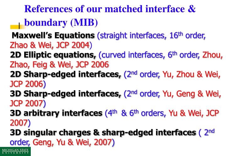 References of our matched interface & boundary (MIB)