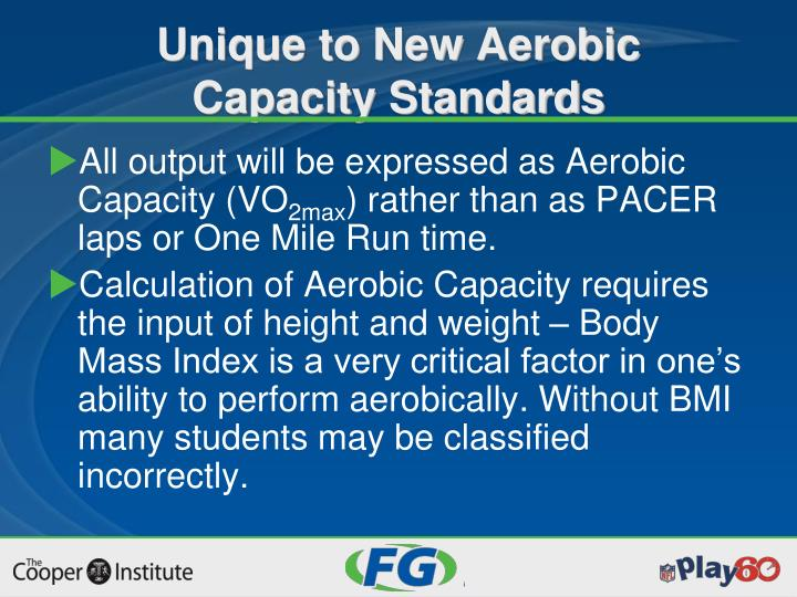 All output will be expressed as Aerobic Capacity (VO