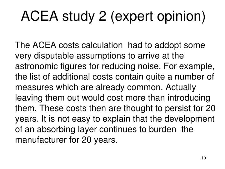 ACEA study 2 (expert opinion)
