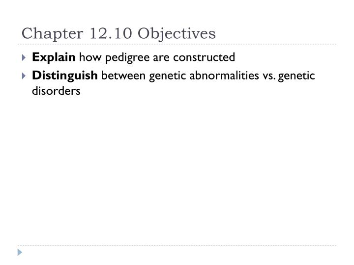 Chapter 12.10 Objectives