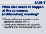 what else needs to happen at the consensus deliberation meeting1