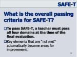 what is the overall passing criteria for safe t