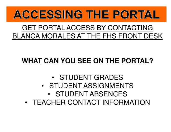 ACCESSING THE PORTAL