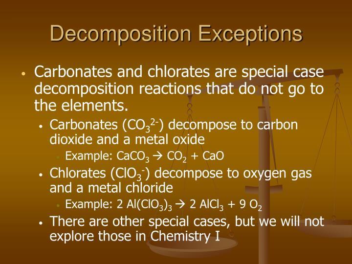 Decomposition Exceptions