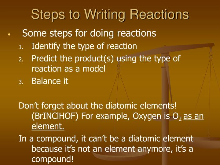 Steps to Writing Reactions