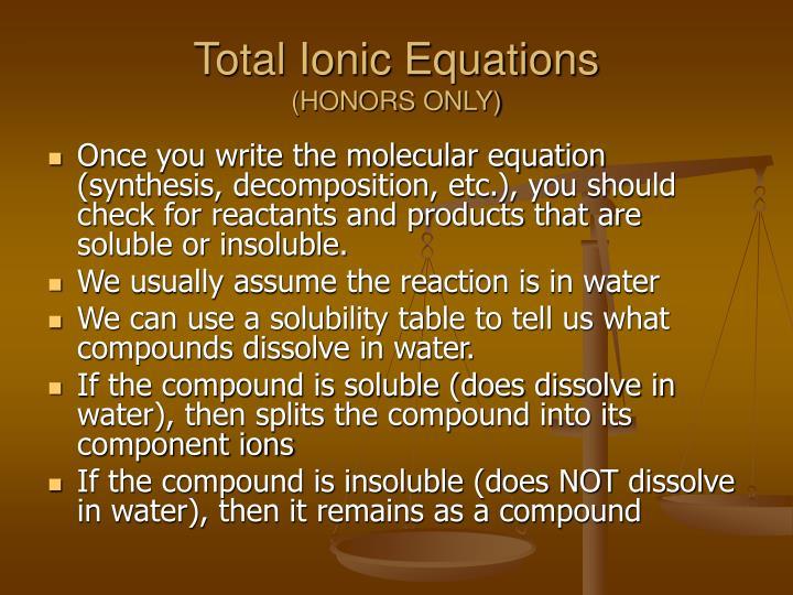 Total Ionic Equations