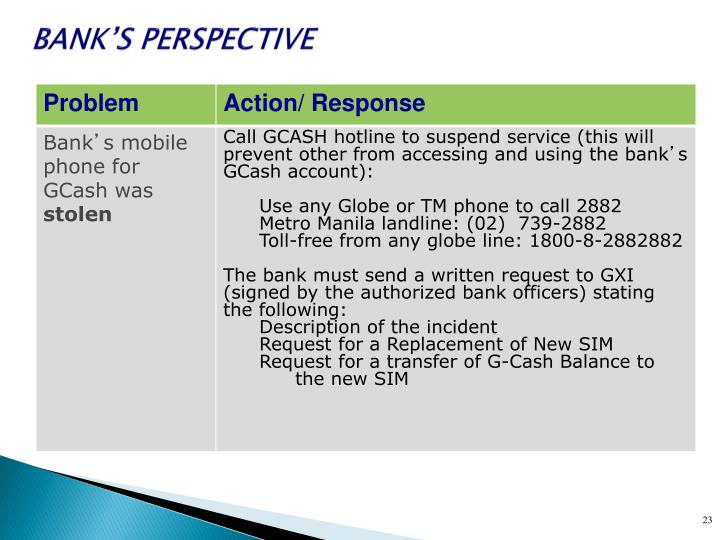 BANK'S PERSPECTIVE