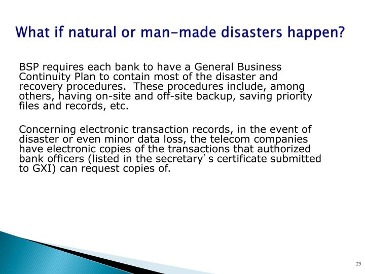 BSP requires each bank to have a General Business Continuity Plan to contain most of the disaster and recovery procedures.  These procedures include, among others, having on-site and off-site backup, saving priority files and records, etc.