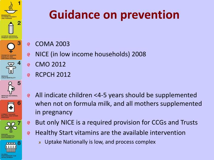 Guidance on prevention