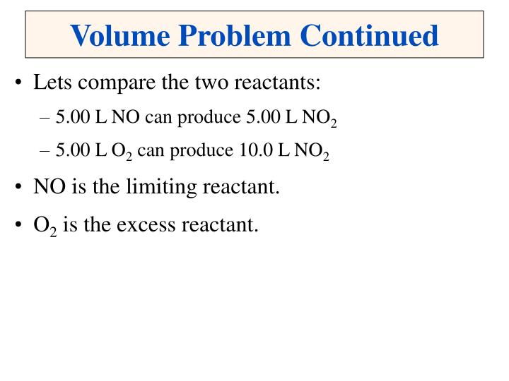 Volume Problem Continued