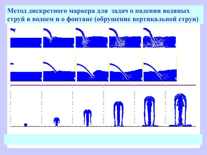 Метод дискретного маркера для  задач о падении водяных струй в водоем и о фонтане (обрушение вертикальной струи)