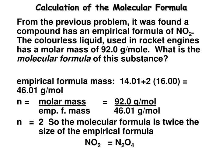 Calculation of the Molecular Formula