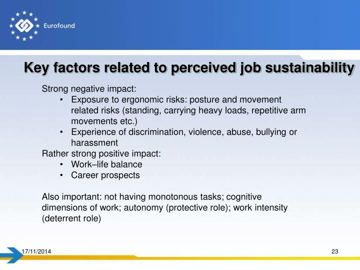 Key factors related to perceived job sustainability