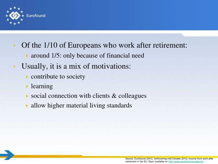 Of the 1/10 of Europeans who work after retirement: