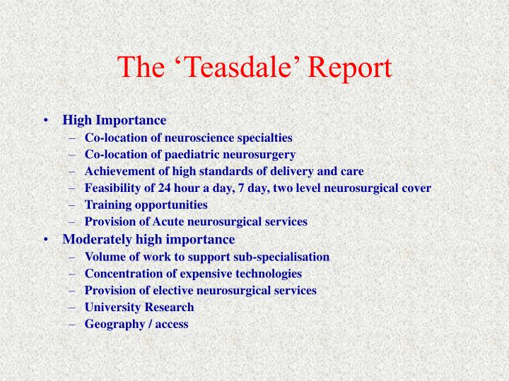 The 'Teasdale' Report