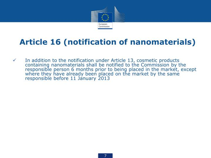 Article 16 (notification of nanomaterials)