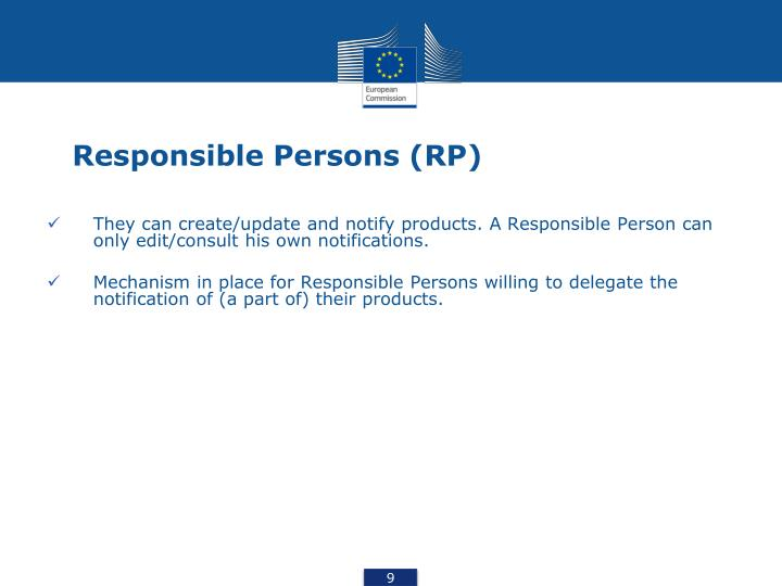 Responsible Persons (RP)