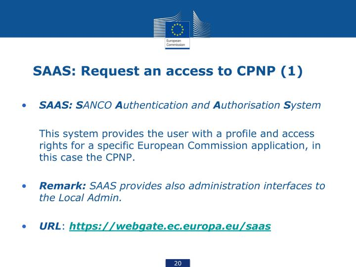 SAAS: Request an access to CPNP (1)