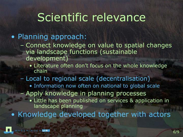 Scientific relevance