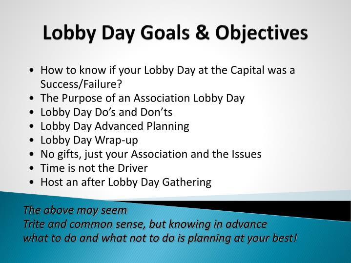 Lobby Day Goals & Objectives