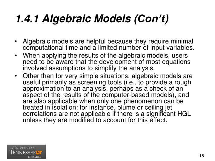1.4.1 Algebraic Models (