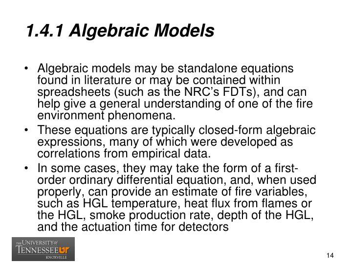1.4.1 Algebraic Models