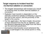 target response to incident heat flux via thermal radiation or convection