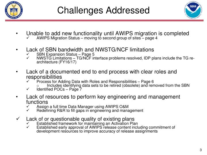 Challenges addressed