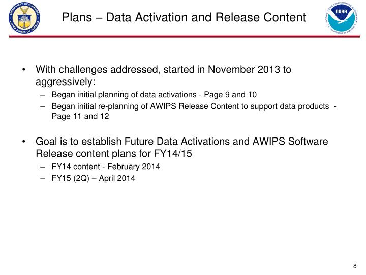 Plans – Data Activation and Release Content