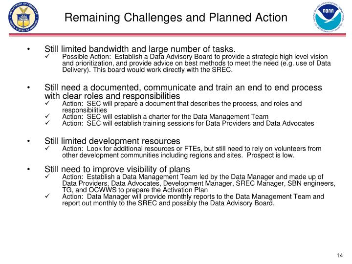 Remaining Challenges and Planned Action