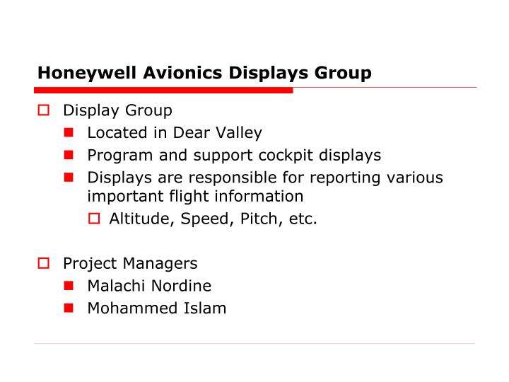 Honeywell avionics displays group