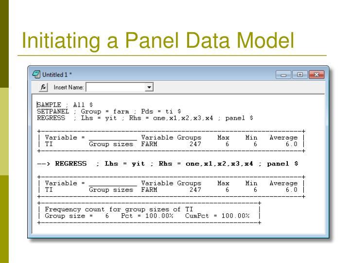 Initiating a Panel Data Model