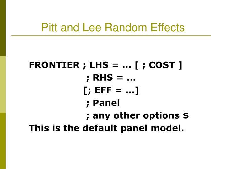 Pitt and Lee Random Effects