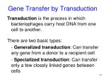 gene transfer by transduction