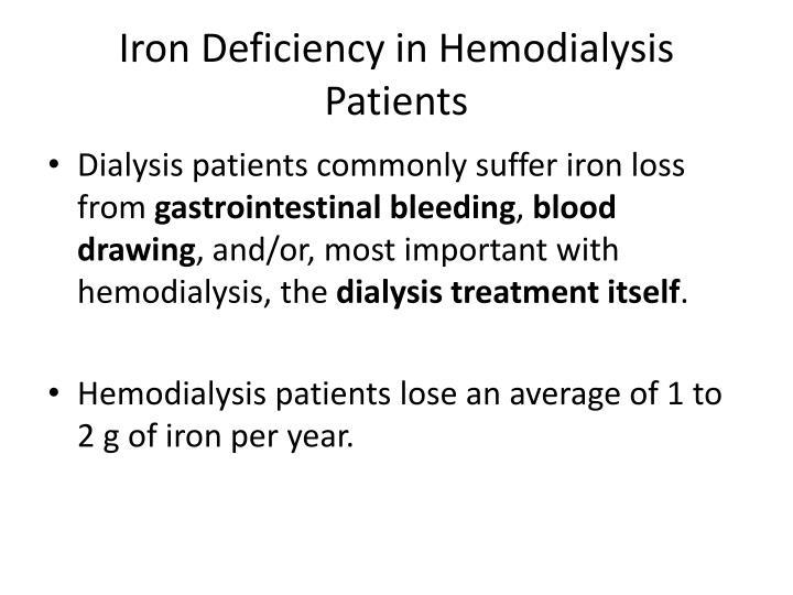 Iron Deficiency in Hemodialysis Patients