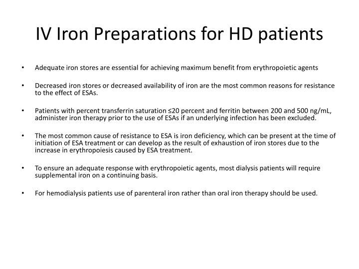 IV Iron Preparations for HD patients