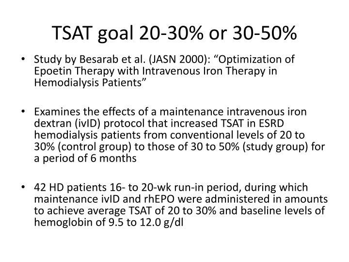 TSAT goal 20-30% or 30-50%