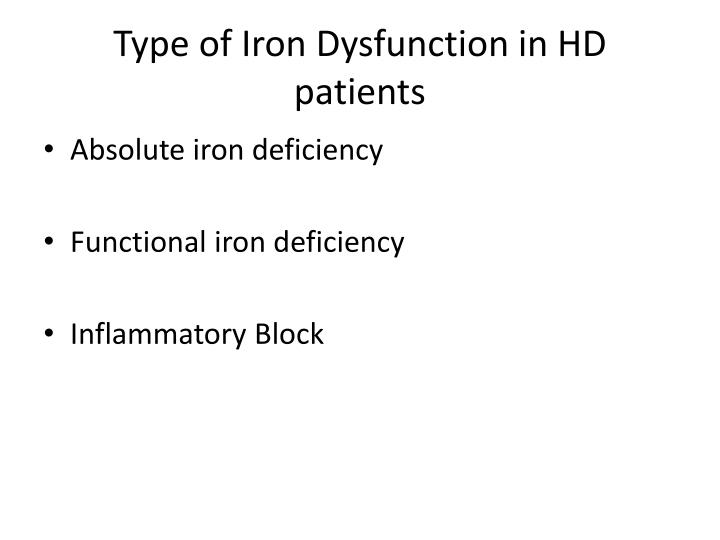 Type of Iron Dysfunction in HD patients