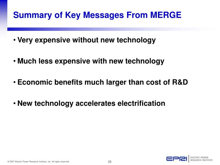 Summary of Key Messages From MERGE