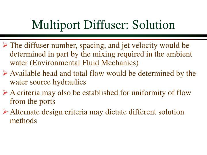 Multiport Diffuser: Solution