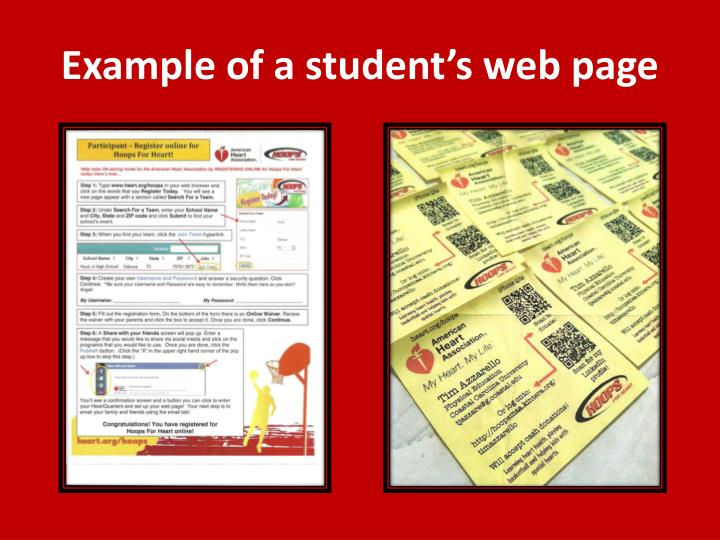 Example of a student's web page