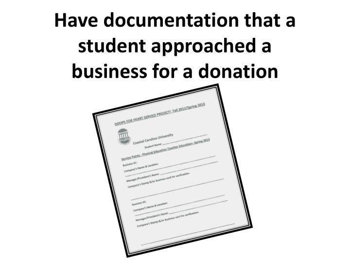 Have documentation that a student approached a