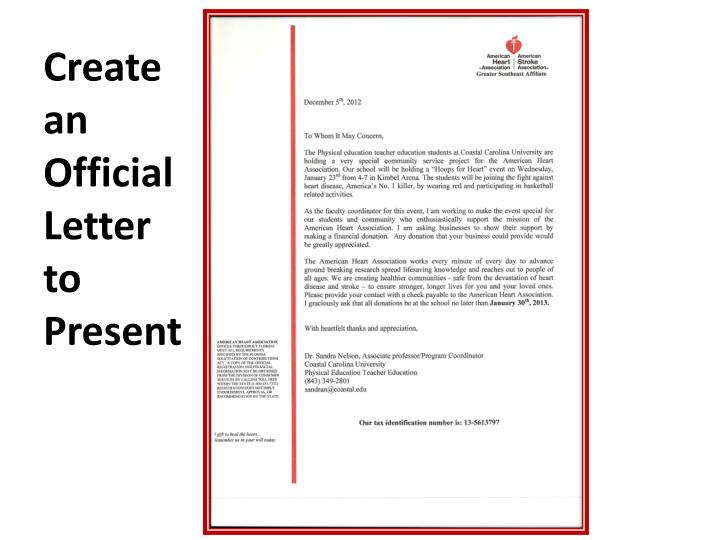 Create an Official Letter to Present