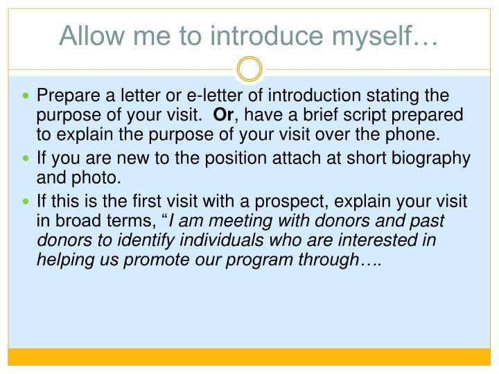 Allow me to introduce myself…