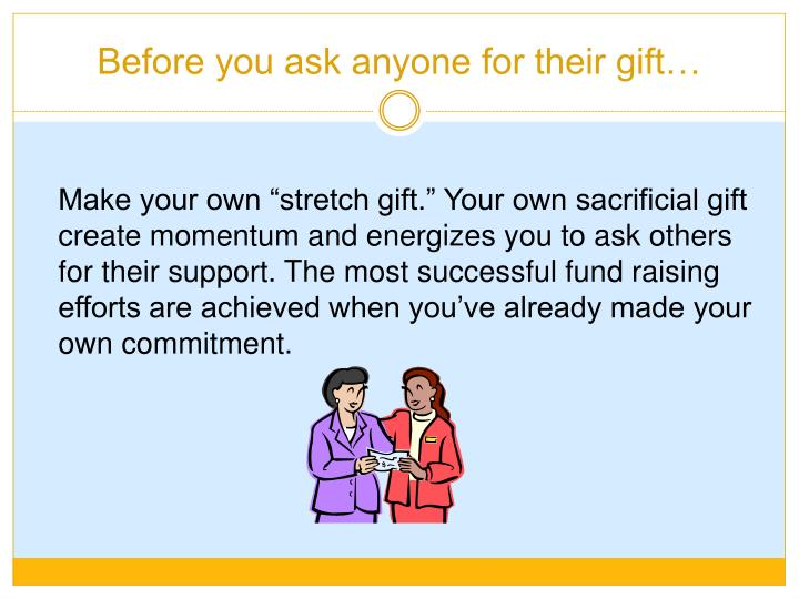 Before you ask anyone for their gift…