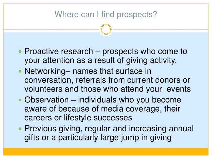 Where can I find prospects?