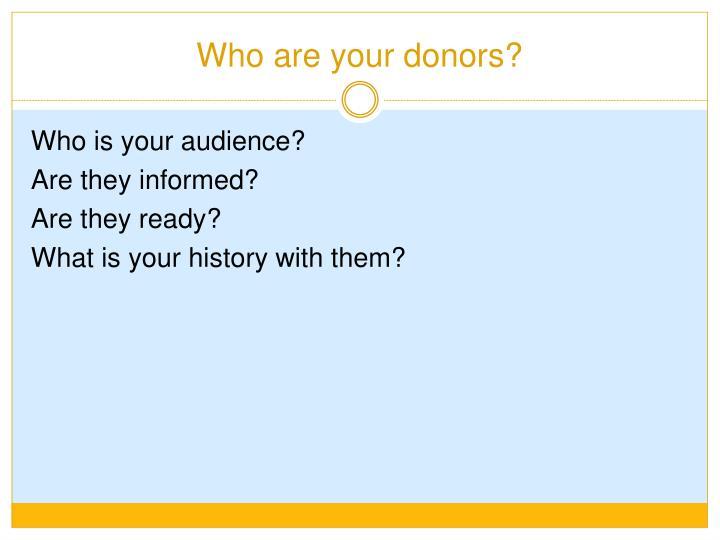 Who are your donors?