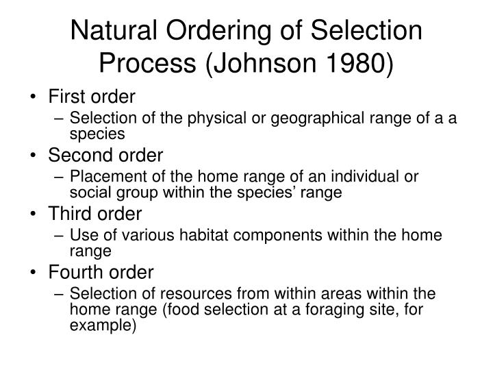 Natural Ordering of Selection Process (Johnson 1980)