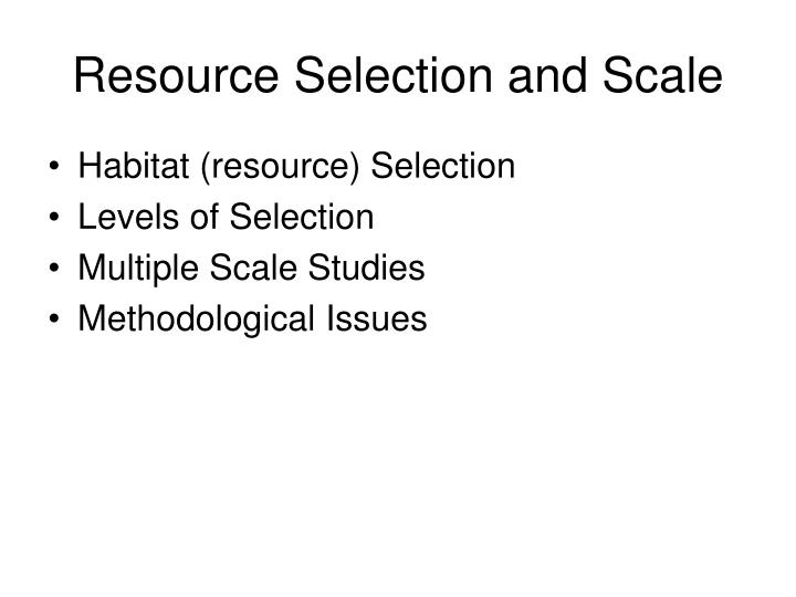 Resource selection and scale
