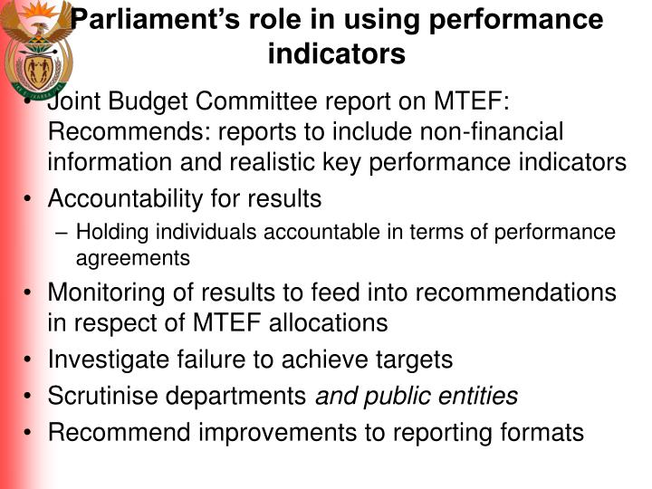 Parliament's role in using performance indicators